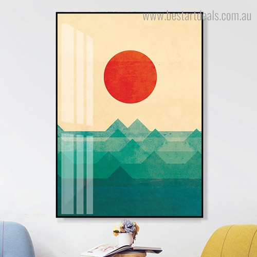 Profound Waves Nature Contemporary Framed Painting Image Canvas Print for Room Wall Decor