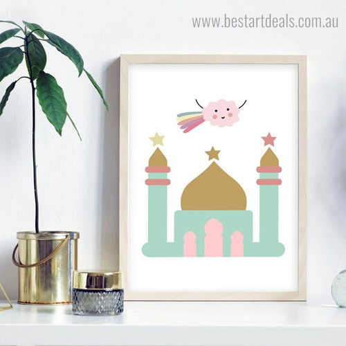 Calico Mosque Kids Contemporary Framed Painting Image Canvas Print for Room Wall Ornamentation