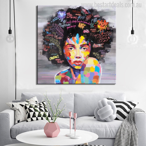 Girl Hair Modern Watercolor Painting Canvas Print for Bedroom Wall Decor