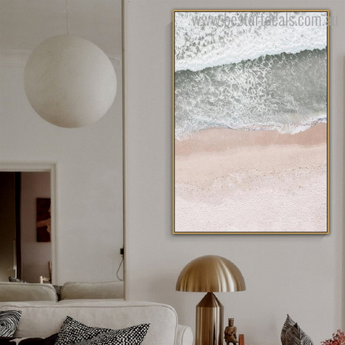 Ocean Meets Sand Nature Contemporary Framed Painting Image Canvas Print for Room Wall Getup