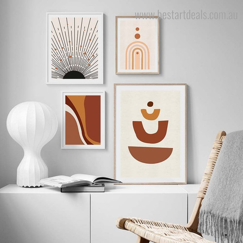 Sinuate Abstract Contemporary Framed Artwork Image Canvas Print for Room Wall Adornment
