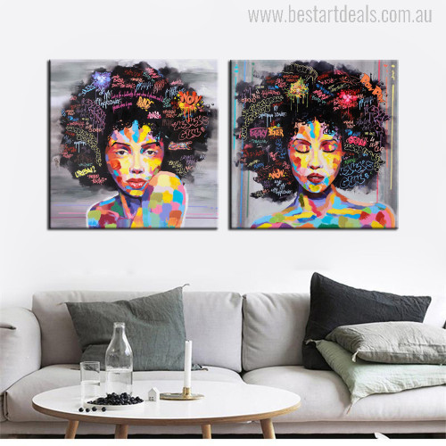 Curly Hair Two Girls Modern Watercolor Painting Print