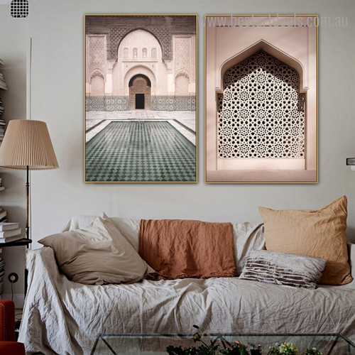Youssef Madrassa Architecture Modern Framed Painting Image Canvas Print for Room Wall Decor