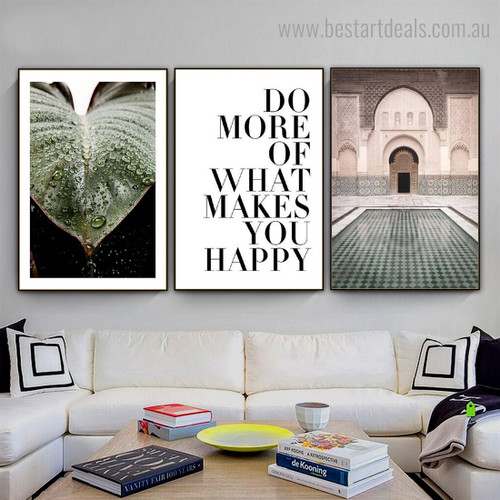 Makes You Happy Quote Contemporary Framed Painting Image Canvas Print for Room Wall Decor