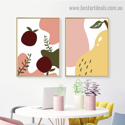 Pear and Apple Fruit Abstract Food and Beverage Modern Framed Painting Picture Canvas Print For Room Wall Decor