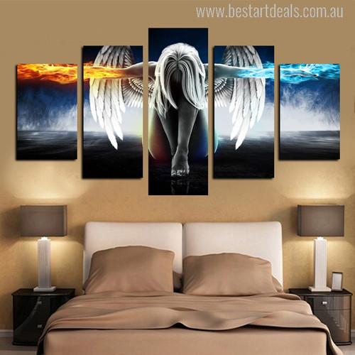 Anime Angel Girl Painting Print for Living Room Decor