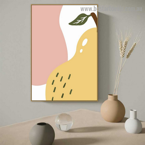 Pyrus Communis Fruit Abstract Food and Beverage Modern Framed Painting Pic Canvas Print for Room Wall Moulding