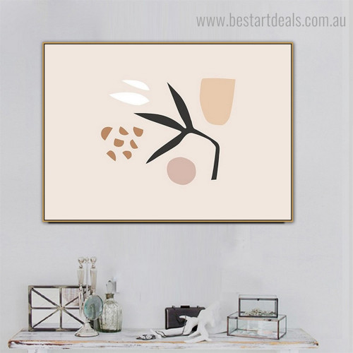 Leaf Speckle Abstract Scandinavian Framed Painting Picture Canvas Print for Room Wall Molding