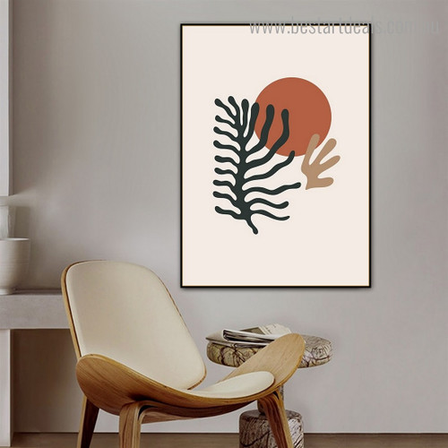 Leafage Design Abstract Scandinavian Framed Painting Picture Canvas Print for Room Wall Adornment