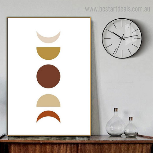 Colorific Moon Phases Abstract Scandinavian Framed Painting Image Canvas Print for Room Wall Ornament