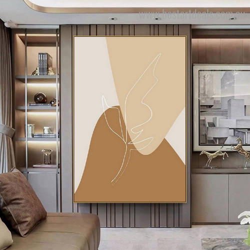 Seams Abstract Scandinavian Framed Painting Pic Canvas Print for Room Wall Moulding