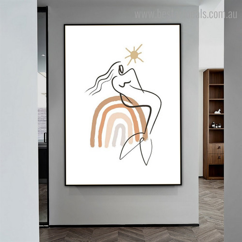 Mermaid Girl Abstract Scandinavian Framed Portraiture Image Canvas Print for Room Wall Disposition
