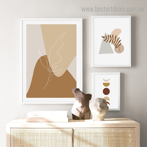 Phoebe Smears Abstract Scandinavian Framed Portraiture Image Canvas Print for Room Wall Disposition