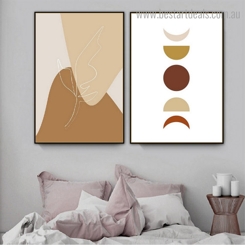 Blots Moon Abstract Scandinavian Framed Portraiture Image Canvas Print for Room Wall Outfit