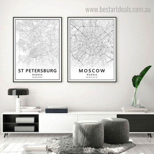 Moscow Petersburg Abstract Map Modern Framed Portraiture Portrait Canvas Print for Room Wall Decor