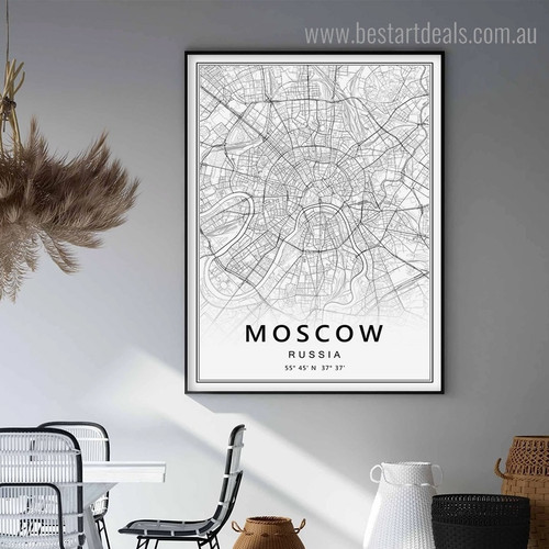 Moscow Abstract Map Modern Framed Portraiture Image Canvas Print for Room Wall Tracery