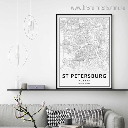 St Petersburg Abstract Map Modern Framed Portraiture Image Canvas Print for Room Wall Disposition