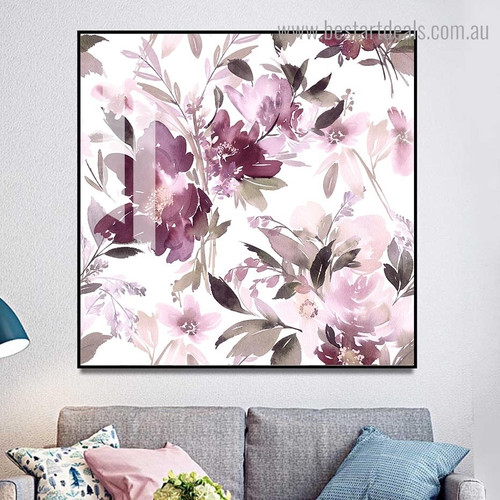 Lavender Bloom Floral Modern Framed Painting Picture Canvas Print for Room Wall Decor