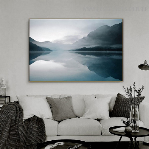 Lake Plansee Nature Modern Framed Portraiture Image Canvas Print for Room Wall Disposition