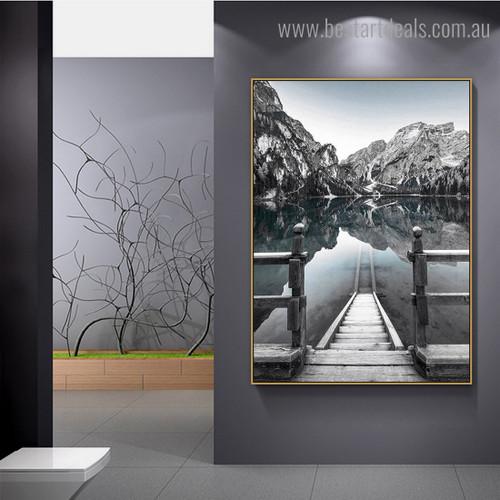 Pragser Wildsee Nature Modern Framed Portraiture Pic Canvas Print for Room Wall Flourish