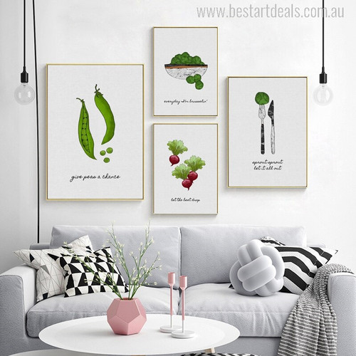 Vegetables Modern Typography Painting Print for Living Room Decor