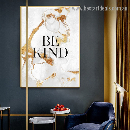 Be Kind Abstract Typography Modern Framed Painting Photo Canvas Print for Room Wall Molding