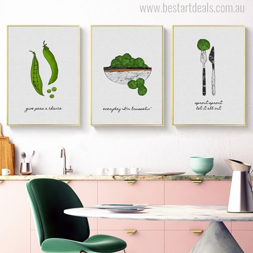 Green Vegetables Modern Typography Painting Print for Kitchen Wall Decor