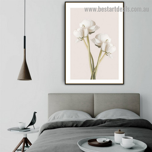 Delano White Daffodil Abstract Floral Framed Painting Photo Canvas Print for Room Wall Ornament