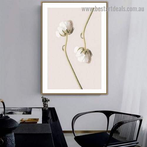 Tecolote White Buttercup Abstract Floral Framed Painting Picture Canvas Print for Room Wall Outfit