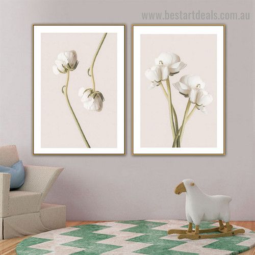 Persian White Buttercup Abstract Floral Framed Painting Pic Canvas Print for Room Wall Onlay