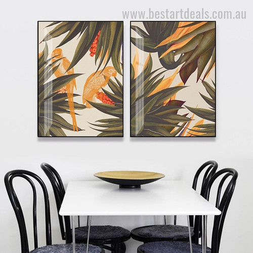 Beige Tropical Foilage Abstract Unlined Botanical Framed Modern Painting Pic Canvas Print for Room Wall Adornment