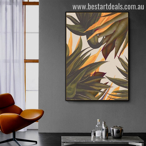 Mealie Leaves Abstract Botanical Modern Framed Painting Picture Canvas Print for Room Wall Garnish