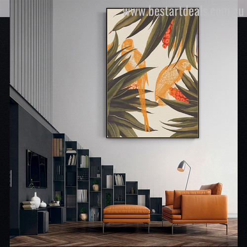 Yellow Parrot Abstract Bird Modern Framed Painting Picture Canvas Print for Room Wall Onlay