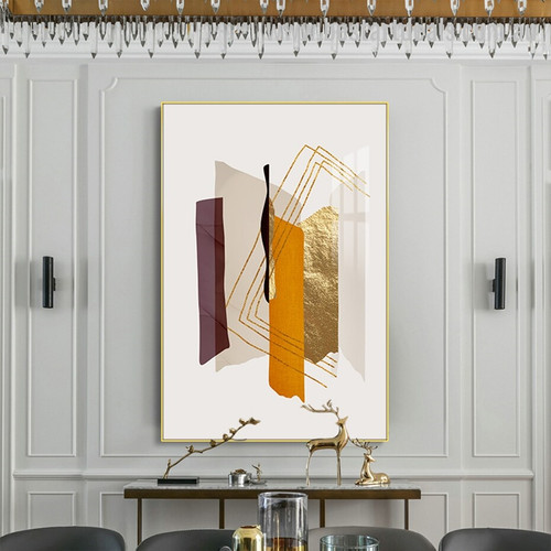Gold Planking Modern Abstract Framed Painting Artwork for Room Wall Decor