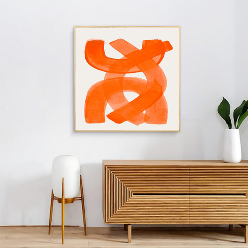 Orange Strokes Abstract Minimalist Modern Framed Artwork Picture Canvas Print for Room Wall Decoration