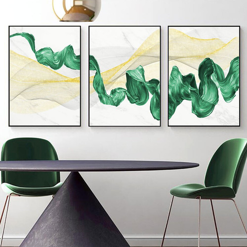 Green Ink Abstract Modern Framed Painting Picture Canvas Print for Room Wall Onlay