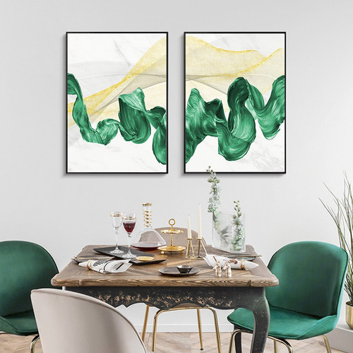 Jade Waves Abstract Modern Framed Painting Photo Canvas Print for Room Wall Decoration