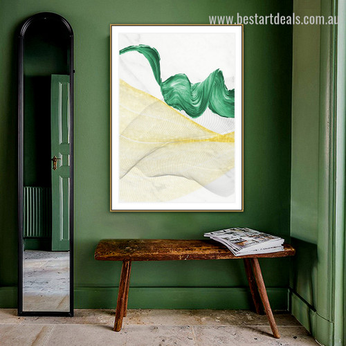 Glided Curves Abstract Modern Framed Painting Image Canvas Print for Room Wall Onlay