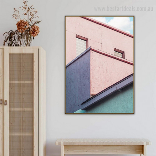 Pink Building Abstract Cityscape Framed Painting Picture Canvas Print for Room Wall Décor