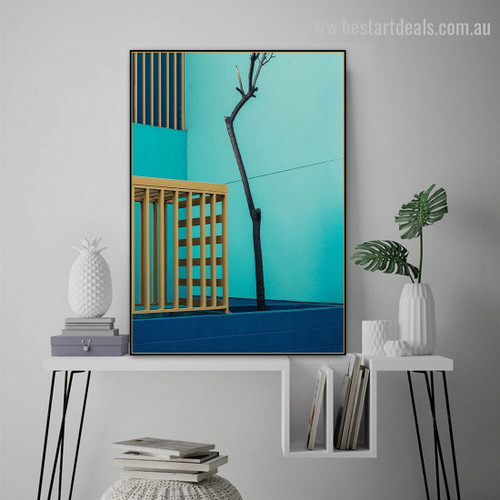 Turquoise Bound Abstract Cityscape Framed Painting Pic Canvas Print for Room Wall Décor