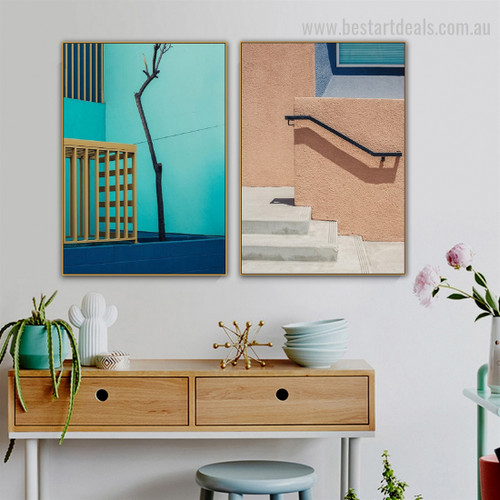 Flecked Facade Abstract Architecture Framed Painting Delineation Canvas Print for Room Wall Furnishing