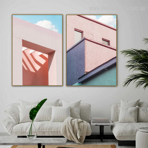 Flamingo Embrace Abstract Architecture Framed Painting Picture Canvas Print for Room Wall Ornamentation