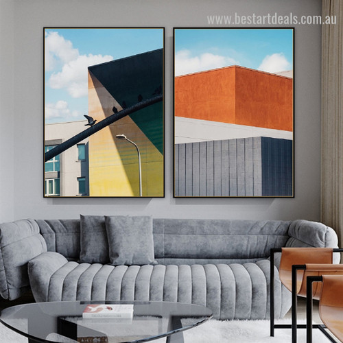Voguish Pendent Abstract Architecture Framed Painting Photo Canvas Print for Room Wall Decoration