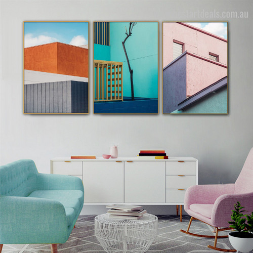 Gaudy Fences Abstract Cityscape Framed Painting Photo Canvas Print for Room Wall Garnish