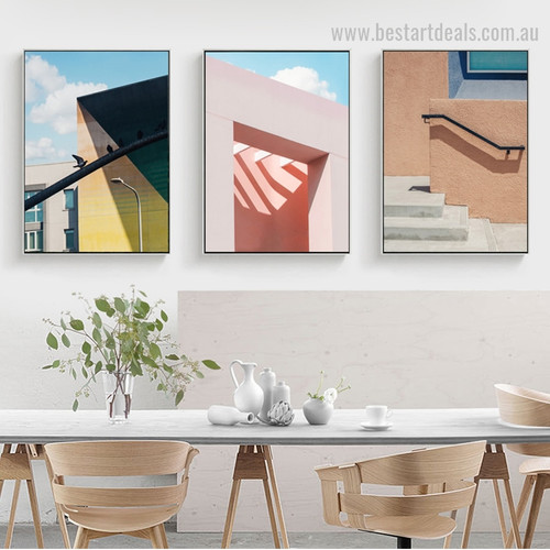 Swanky Muralla Abstract Cityscape Framed Painting Picture Canvas Print for Room Wall Decoration