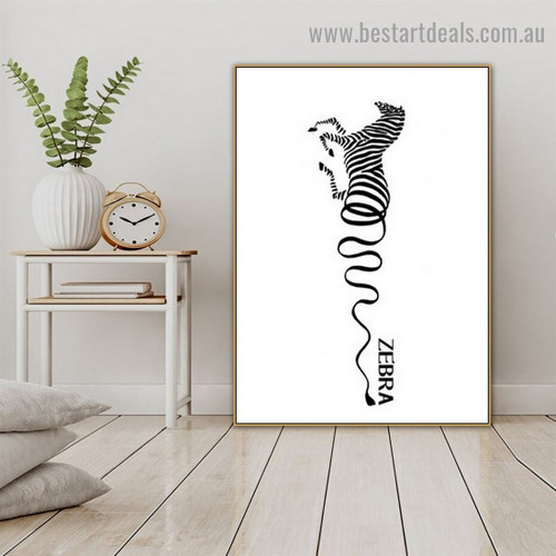 Curved Line Zebra Abstract Animal Modern Framed Artwork Portrait Canvas Print for Room Wall Ornament