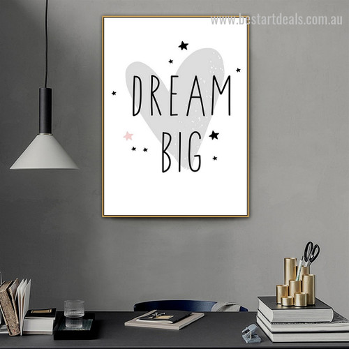 Big Reverie Abstract Typography Modern Framed Painting Pic Canvas Print for Room Wall Garnish