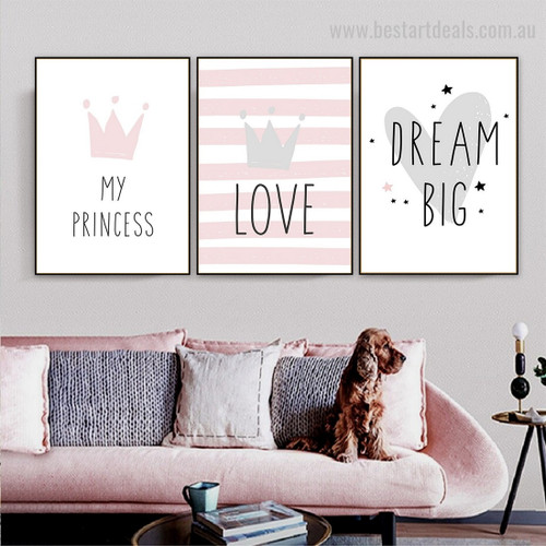 Endearing Frontlet Abstract Kids Typography Modern Framed Painting Photo Canvas Print for Room Wall onlay