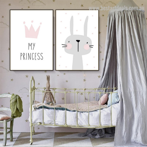 Pink Moke Abstract Animal Typography Modern Framed Painting Pic Canvas Print for Room Wall Decoration