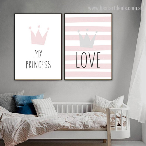 Love My Princess Abstract Kids Typography Modern Framed Painting Picture Canvas Print for Room Wall ornament